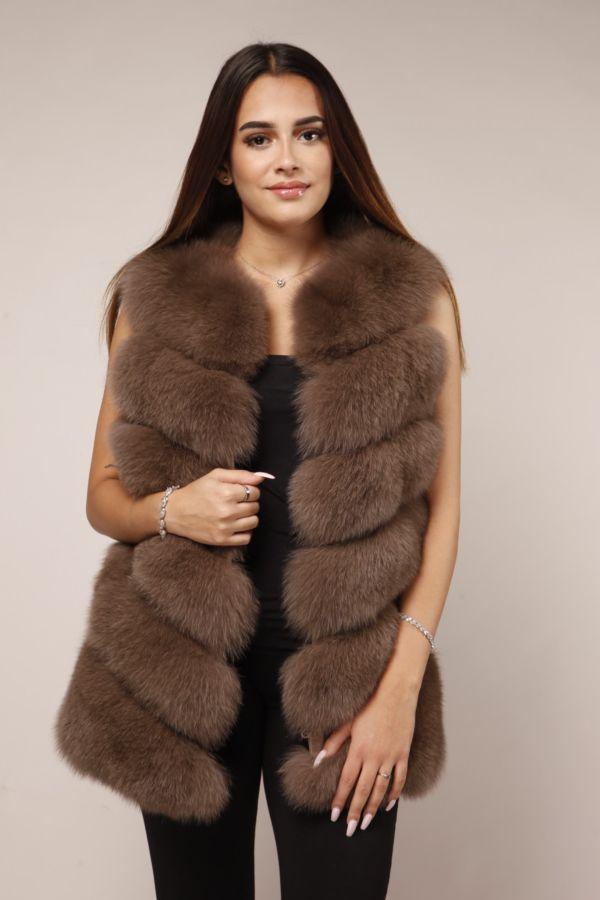 Lange hell braune Fellweste für Damen aus echtem Pelz