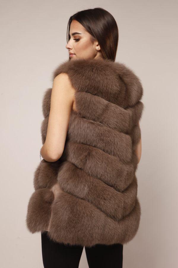 Hell braune Polarfuchs Pelz Fellweste für Damen