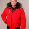 Rote Herren Winterjacke mit Pelzbesatz vom Waschbär